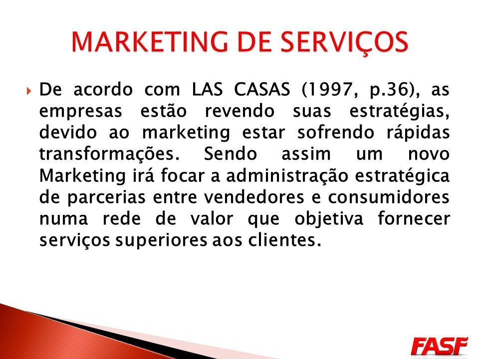De acordo com LAS CASAS (1997, p.36), as empresas estão revendo suas estratégias, devido ao marketing estar sofrendo rápidas transformações.