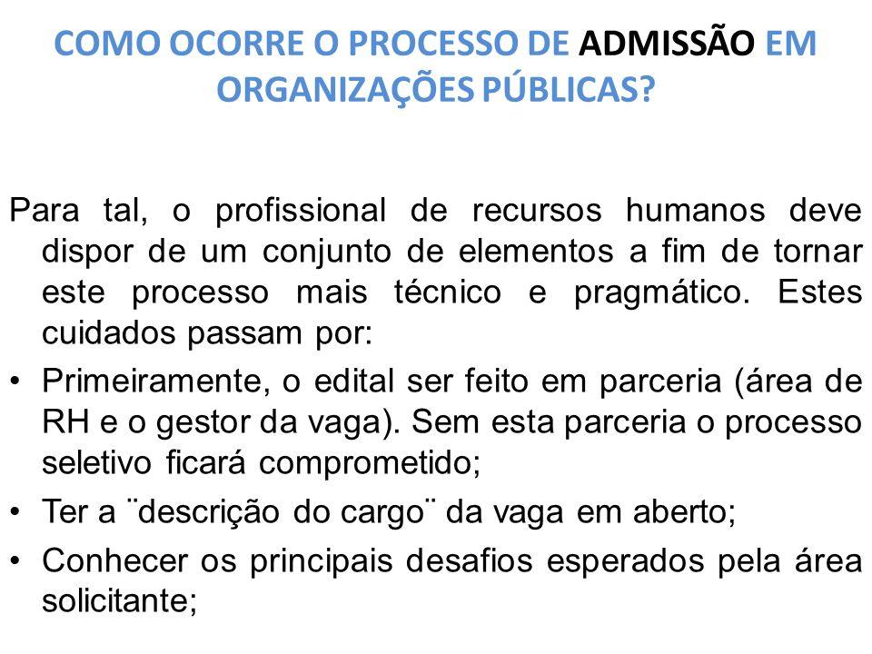 COMO OCORRE O PROCESSO DE ADMISSÃO EM ORGANIZAÇÕES PÚBLICAS.