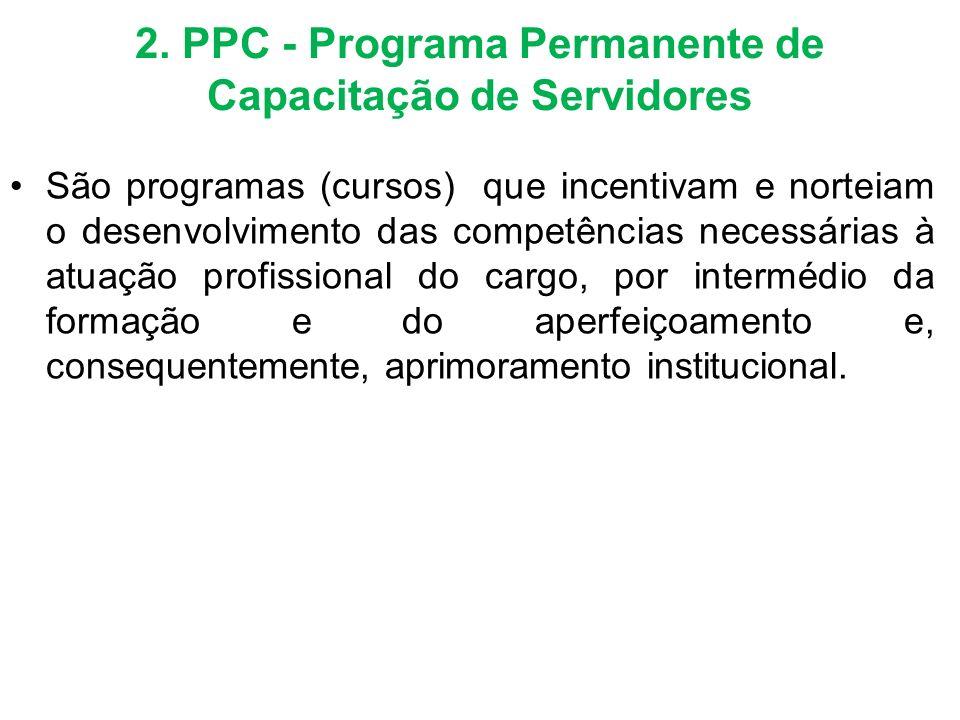 2. PPC - Programa Permanente de Capacitação de Servidores São programas (cursos) que incentivam e norteiam o desenvolvimento das competências necessár
