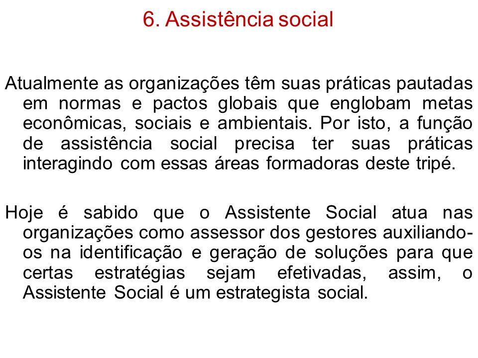 6. Assistência social Atualmente as organizações têm suas práticas pautadas em normas e pactos globais que englobam metas econômicas, sociais e ambien