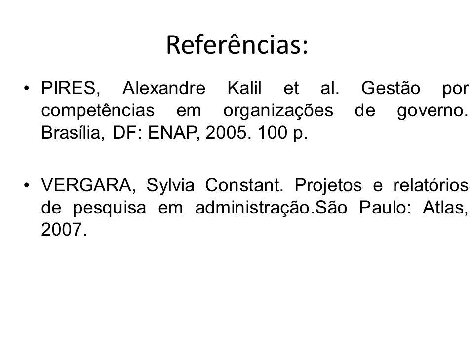 Referências: PIRES, Alexandre Kalil et al.Gestão por competências em organizações de governo.