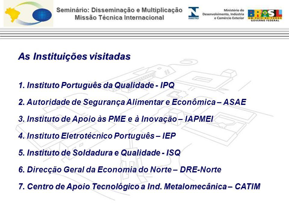Seminário: Disseminação e Multiplicação Missão Técnica Internacional As Instituições visitadas 1.