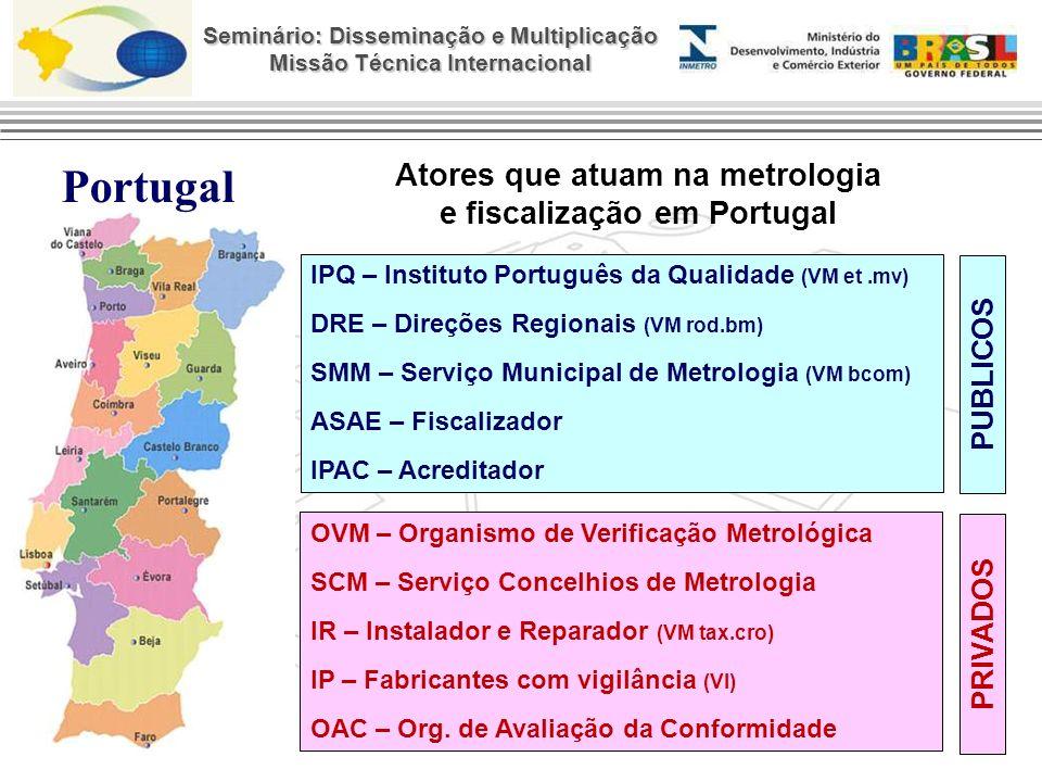 Seminário: Disseminação e Multiplicação Missão Técnica Internacional PORTUGAL SANTA CATARINA 5 Imetro/SC (1 sede + 4 coordenadorias) 1 PA - Postos de Ensaios Autorizado 2 Postos Credenciados 1 Instituto Português da Qualidade 5 DRE – Direções Regionais 108 SMM – Serviço Municipal de Metrologia 55 OVM - Organismo de Verificação Metrológica 12 SCM – Serviço Concelhios de Metrologia 542 IR – Instalador e Reparador IP – Fabricantes com vigilância 1 ASAE - Fiscalizador