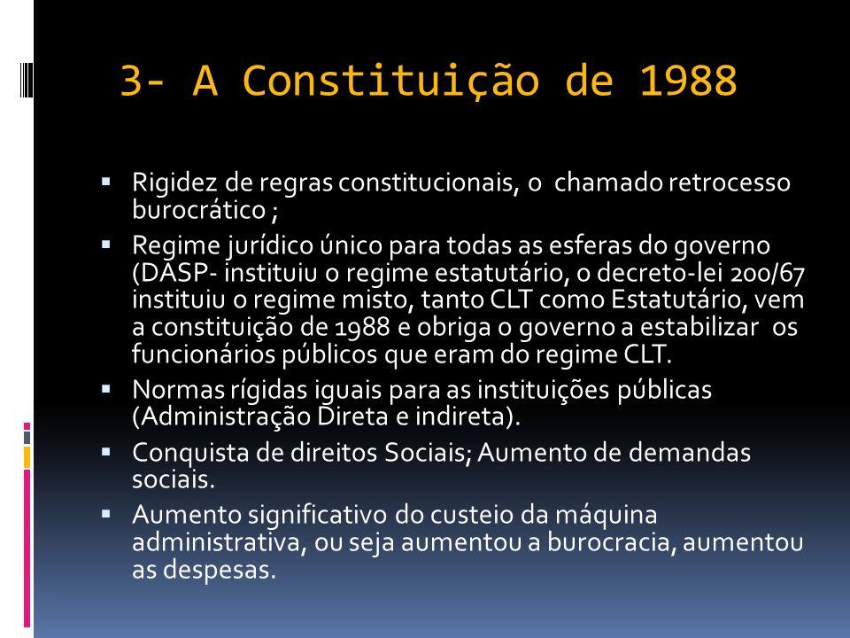 2-Rumo à Administração Gerencial- RESUMO Decreto-Lei 200/67; Simplificação de Procedimentos; Flexibilidade administrativa; Descentralização; Tentativa de introduzir elementos gerênciais na Administração Pública Programa de Desburocratização nos anos 80.