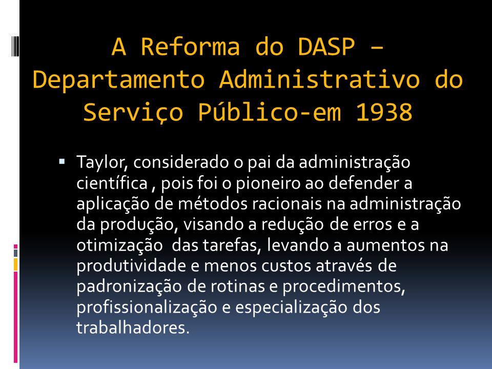 1-A Reforma do DASP – Departamento Administrativo do Serviço Público-em 1938 No Brasil, o modelo de administração burocrática surge a partir dos anos 30.