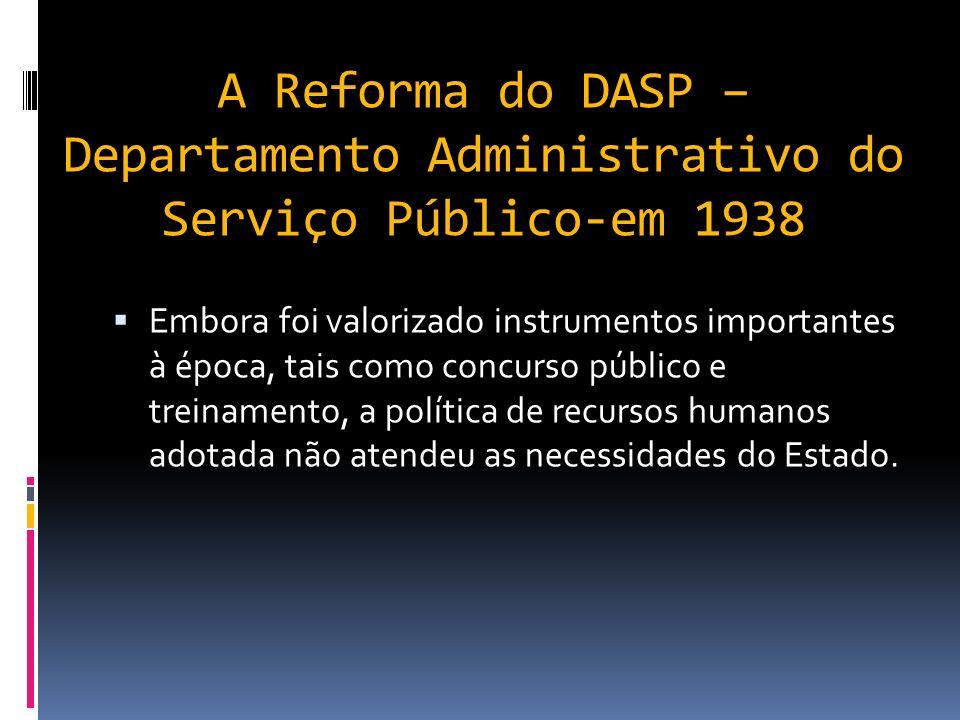 A Reforma do DASP – Departamento Administrativo do Serviço Público-em 1938 Nas reformas do DASP nota-se a influências do Taylorismo na simplificação, padronização, na aquisição racional de materiais, na revisão de estruturas, definição de procedimento e instituição da função orçamentária vinculada ao planejamento.
