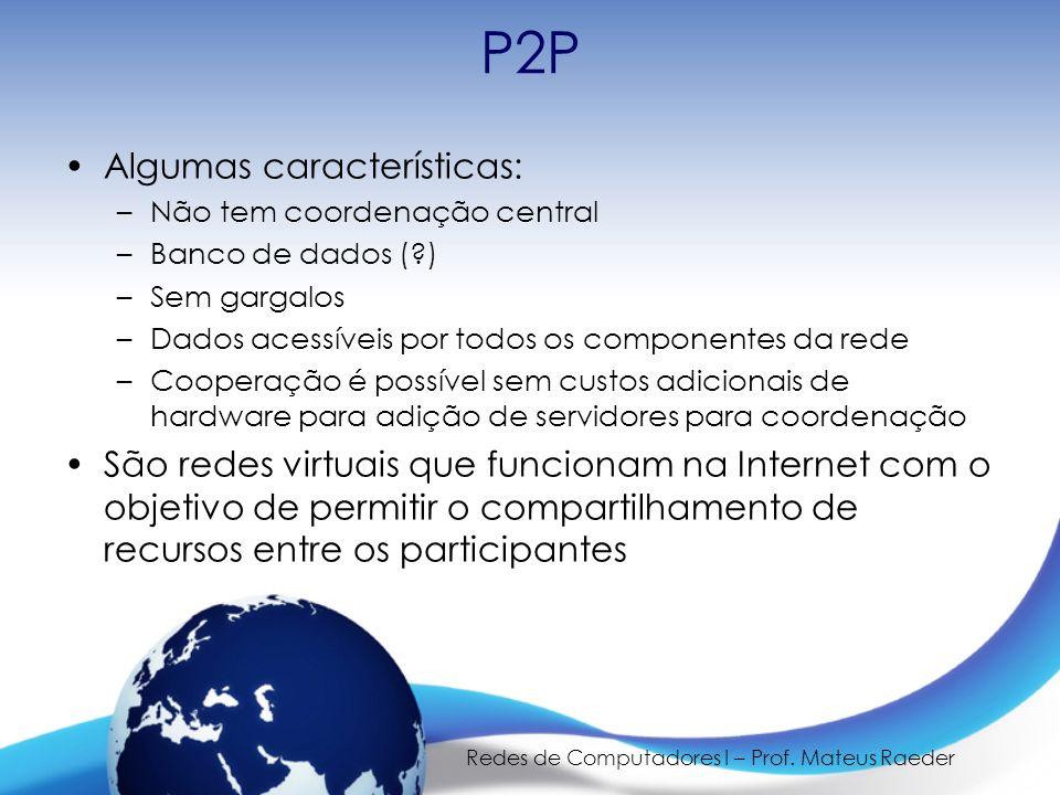 Redes de Computadores I – Prof. Mateus Raeder P2P Algumas características: –Não tem coordenação central –Banco de dados (?) –Sem gargalos –Dados acess