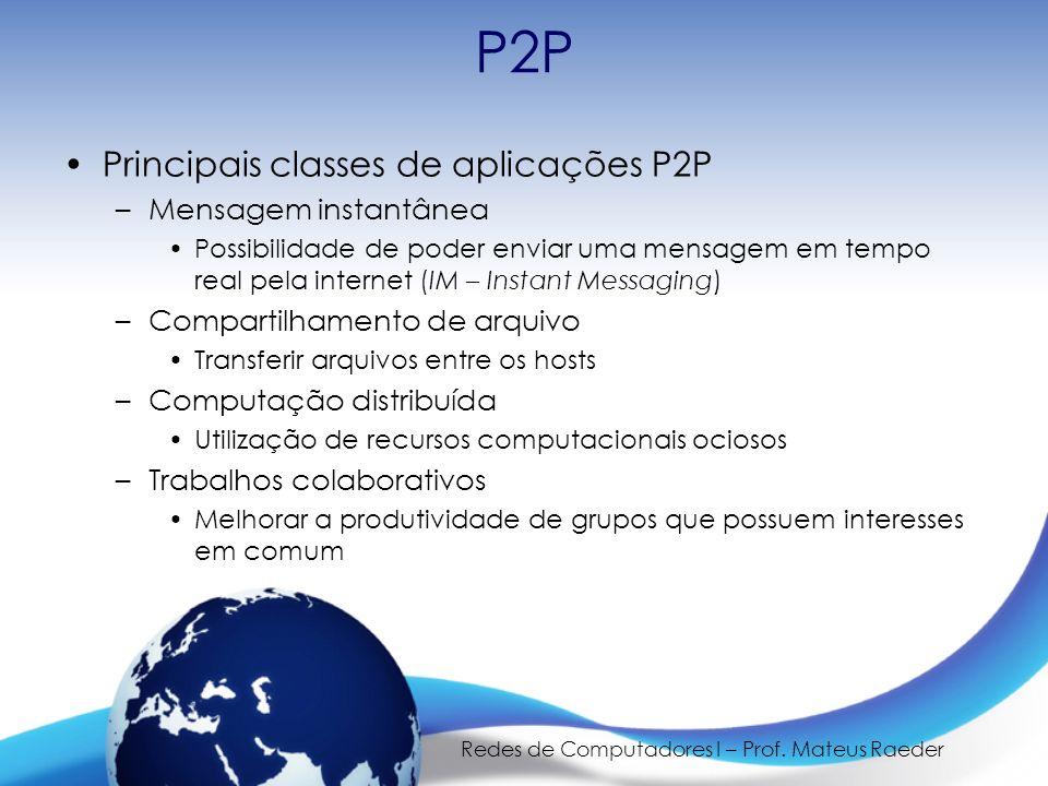 Redes de Computadores I – Prof. Mateus Raeder P2P Principais classes de aplicações P2P –Mensagem instantânea Possibilidade de poder enviar uma mensage