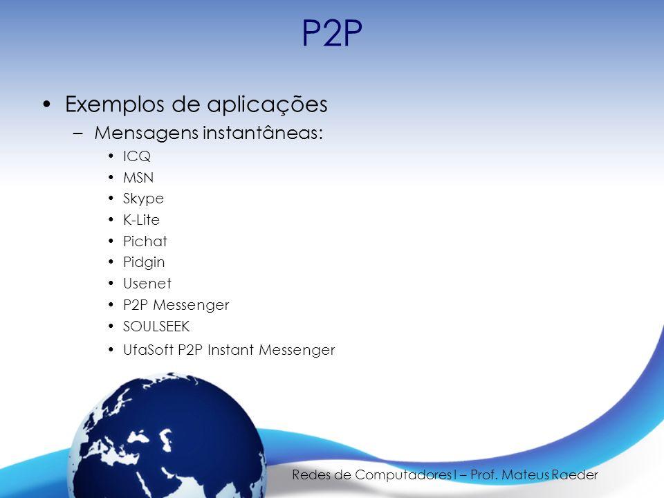 Redes de Computadores I – Prof. Mateus Raeder P2P Exemplos de aplicações –Mensagens instantâneas: ICQ MSN Skype K-Lite Pichat Pidgin Usenet P2P Messen