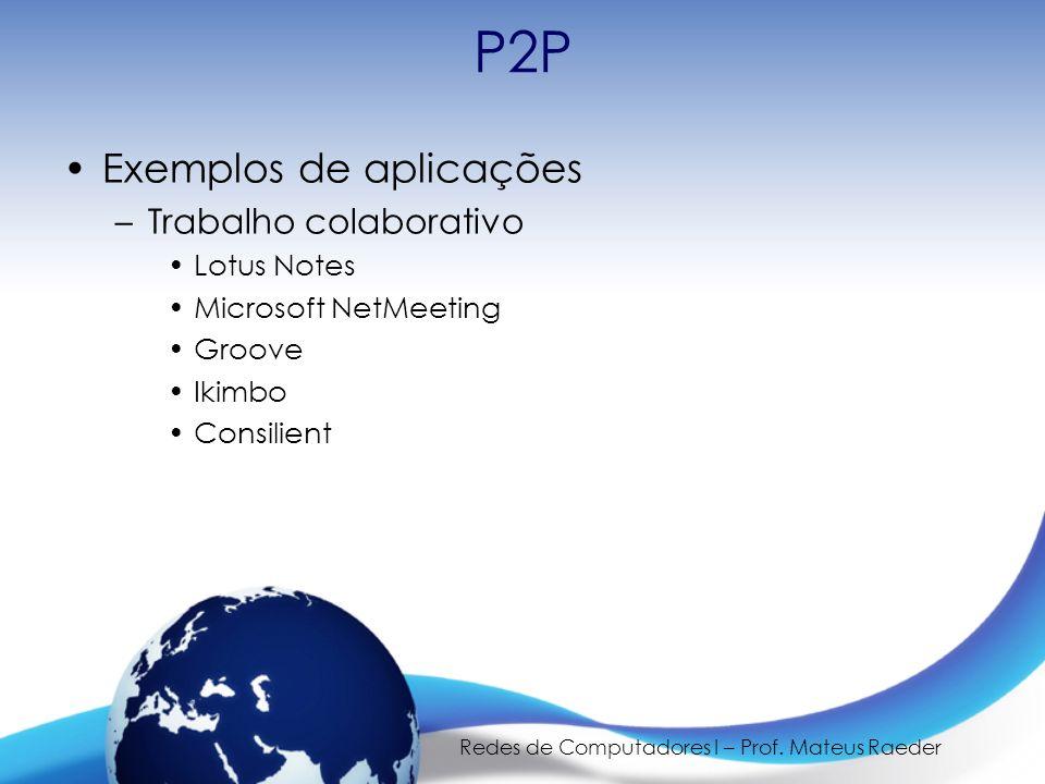 Redes de Computadores I – Prof. Mateus Raeder P2P Exemplos de aplicações –Trabalho colaborativo Lotus Notes Microsoft NetMeeting Groove Ikimbo Consili