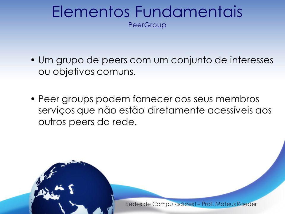 Redes de Computadores I – Prof. Mateus Raeder Elementos Fundamentais PeerGroup Um grupo de peers com um conjunto de interesses ou objetivos comuns. Pe