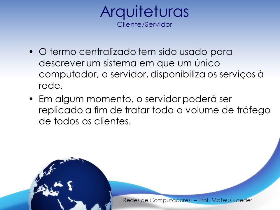 Redes de Computadores I – Prof. Mateus Raeder Arquiteturas Cliente/Servidor O termo centralizado tem sido usado para descrever um sistema em que um ún