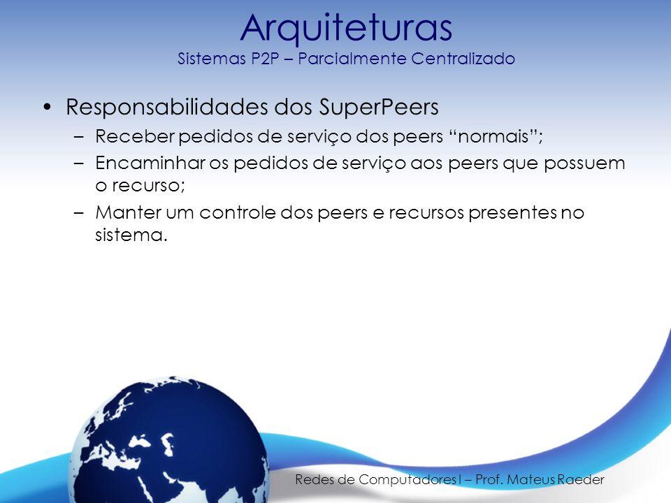 Redes de Computadores I – Prof. Mateus Raeder Responsabilidades dos SuperPeers –Receber pedidos de serviço dos peers normais; –Encaminhar os pedidos d