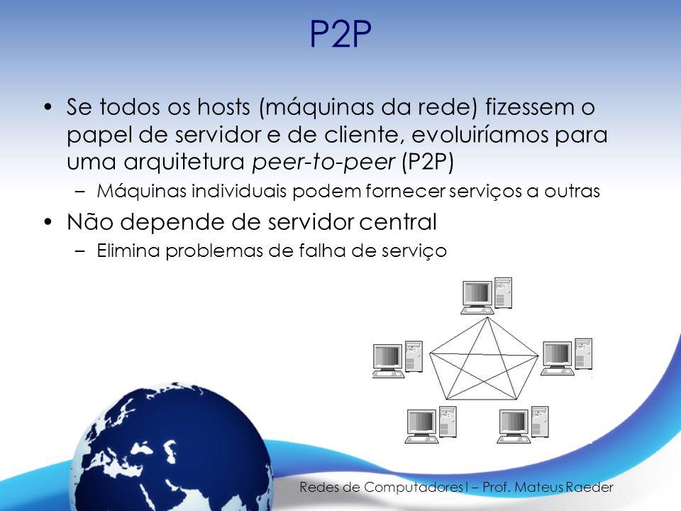 Redes de Computadores I – Prof. Mateus Raeder P2P Se todos os hosts (máquinas da rede) fizessem o papel de servidor e de cliente, evoluiríamos para um