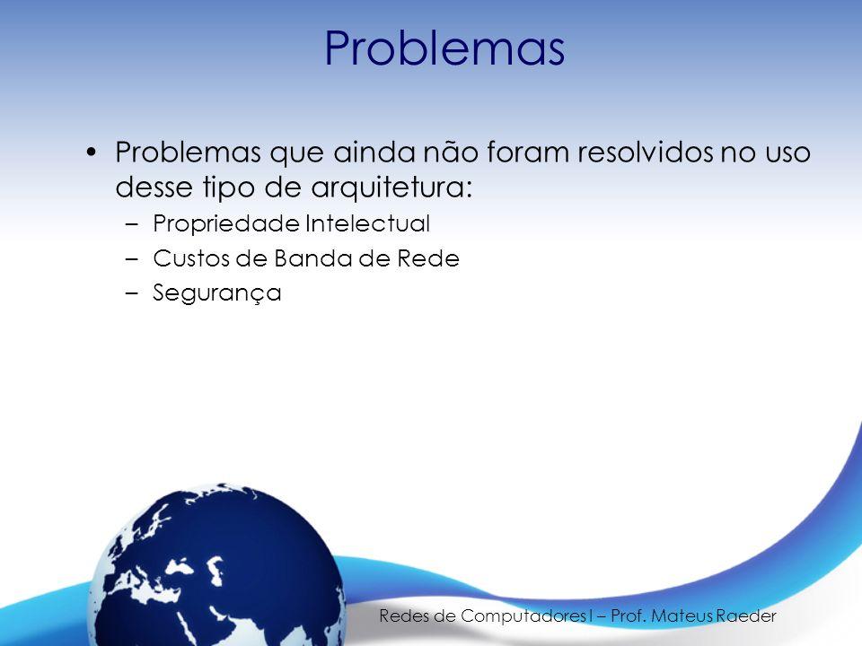 Redes de Computadores I – Prof. Mateus Raeder Problemas Problemas que ainda não foram resolvidos no uso desse tipo de arquitetura: –Propriedade Intele