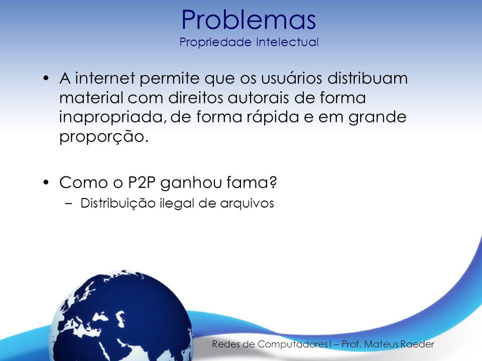 Redes de Computadores I – Prof. Mateus Raeder Problemas Propriedade Intelectual A internet permite que os usuários distribuam material com direitos au