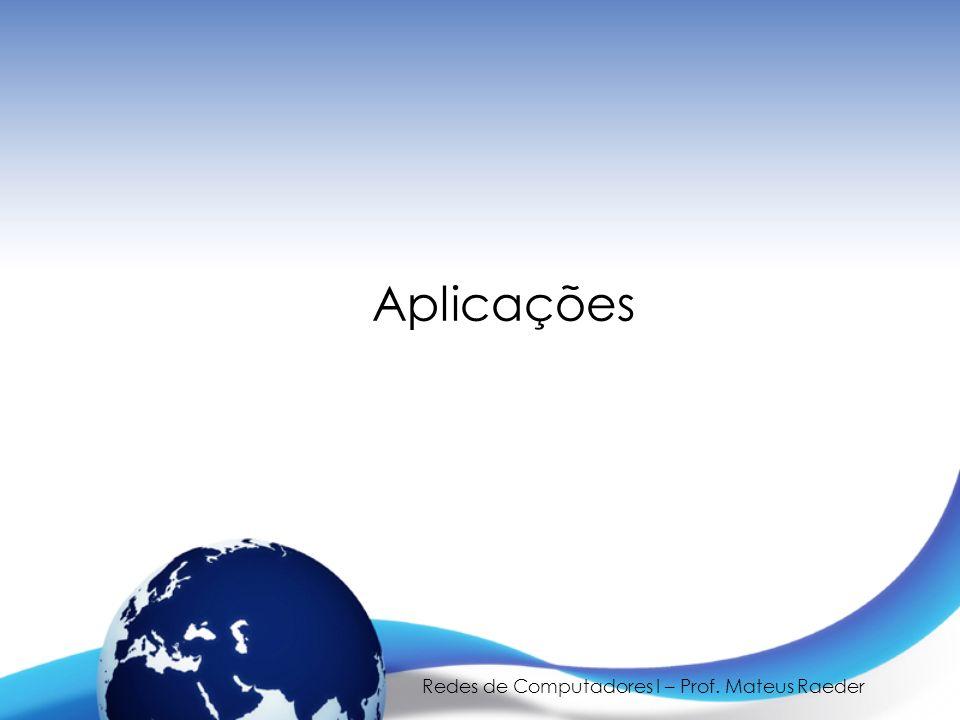 Redes de Computadores I – Prof. Mateus Raeder Aplicações