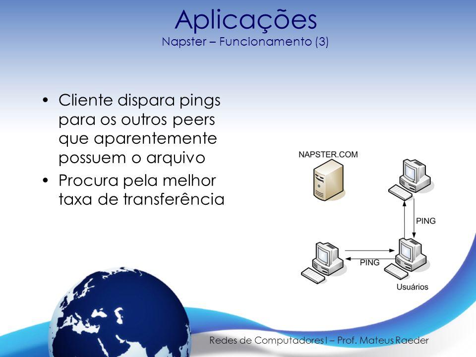 Redes de Computadores I – Prof. Mateus Raeder Aplicações Napster – Funcionamento (3) Cliente dispara pings para os outros peers que aparentemente poss