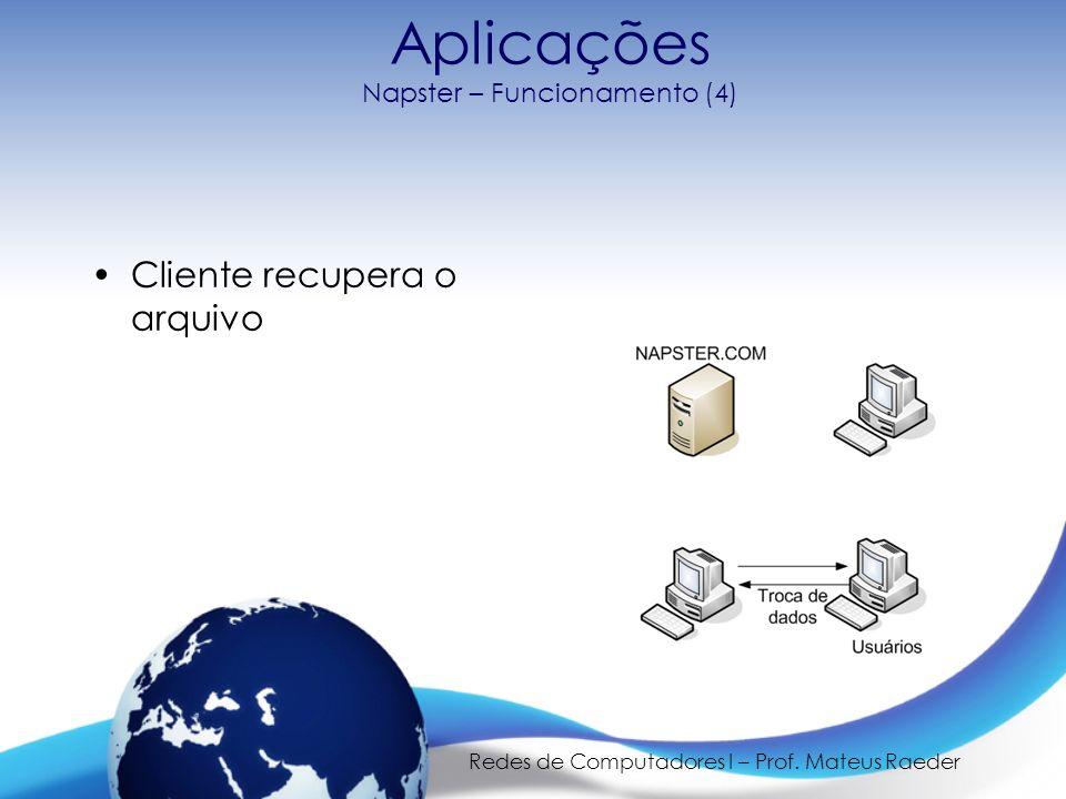 Redes de Computadores I – Prof. Mateus Raeder Aplicações Napster – Funcionamento (4) Cliente recupera o arquivo