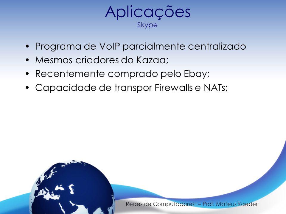 Redes de Computadores I – Prof. Mateus Raeder Aplicações Skype Programa de VoIP parcialmente centralizado Mesmos criadores do Kazaa; Recentemente comp