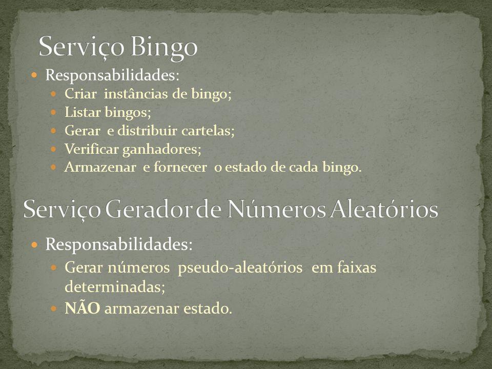 Responsabilidades: Criar instâncias de bingo; Listar bingos; Gerar e distribuir cartelas; Verificar ganhadores; Armazenar e fornecer o estado de cada
