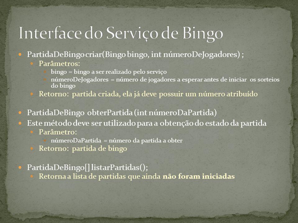 PartidaDeBingo criar(Bingo bingo, int númeroDeJogadores) ; Parâmetros: bingo = bingo a ser realizado pelo serviço númeroDeJogadores = número de jogado