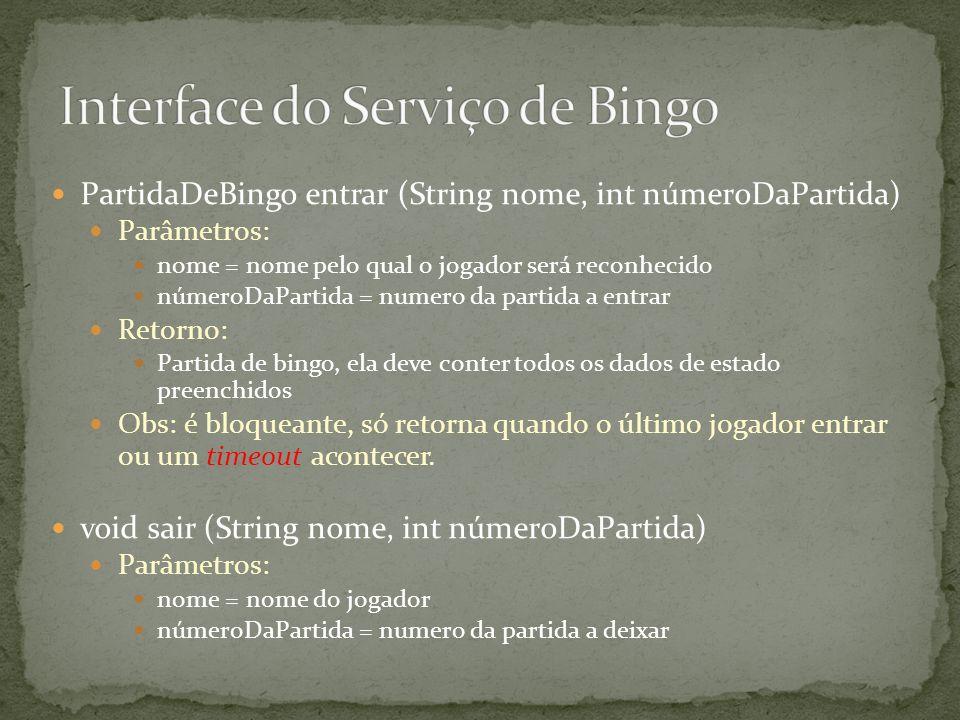 PartidaDeBingo entrar (String nome, int númeroDaPartida) Parâmetros: nome = nome pelo qual o jogador será reconhecido númeroDaPartida = numero da part