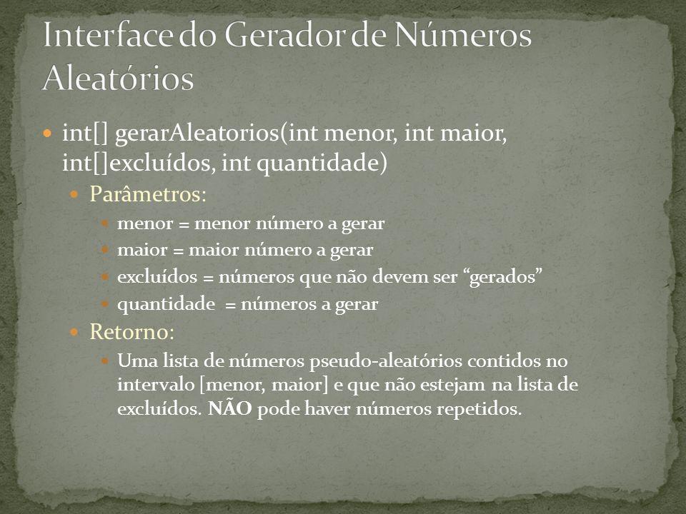 int[] gerarAleatorios(int menor, int maior, int[]excluídos, int quantidade) Parâmetros: menor = menor número a gerar maior = maior número a gerar excl