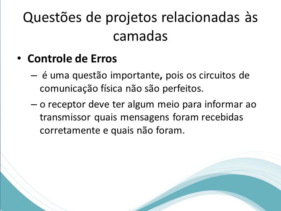 Questões de projetos relacionadas às camadas Controle de Erros – é uma questão importante, pois os circuitos de comunicação física não são perfeitos.