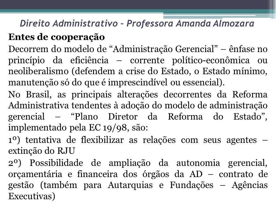 Direito Administrativo – Professora Amanda Almozara Entes de cooperação Decorrem do modelo de Administração Gerencial – ênfase no princípio da eficiên