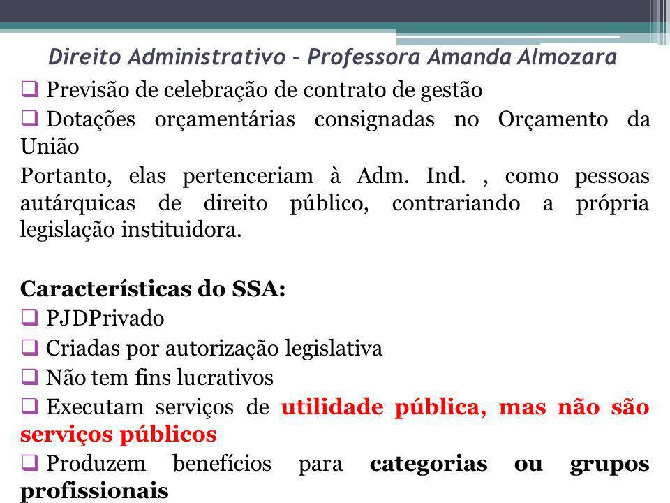 Direito Administrativo – Professora Amanda Almozara Previsão de celebração de contrato de gestão Dotações orçamentárias consignadas no Orçamento da Un
