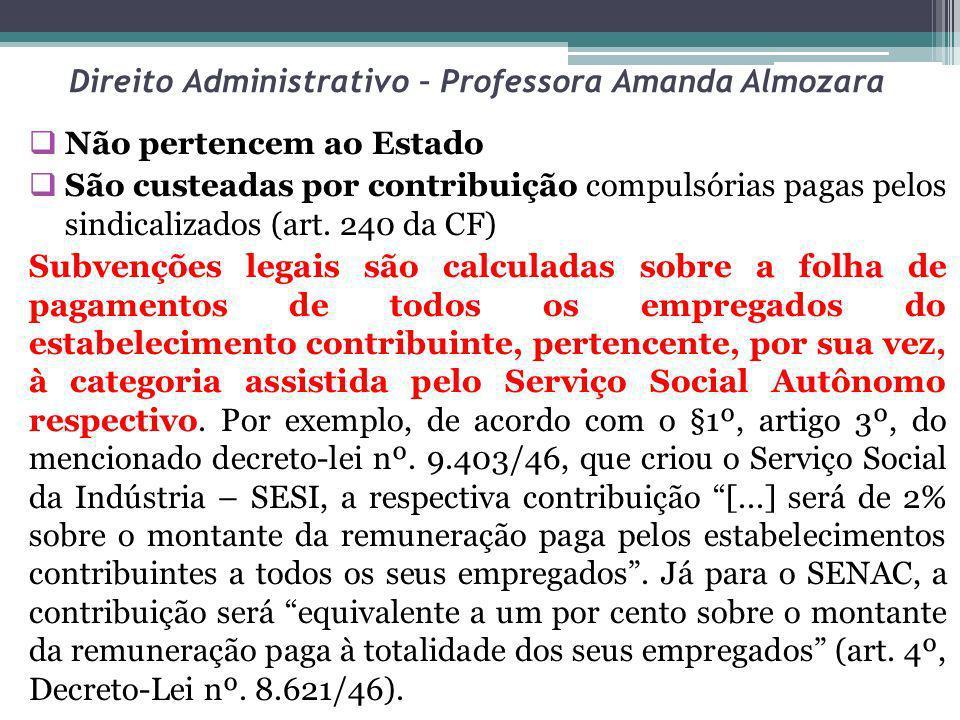 Direito Administrativo – Professora Amanda Almozara Não pertencem ao Estado São custeadas por contribuição compulsórias pagas pelos sindicalizados (ar