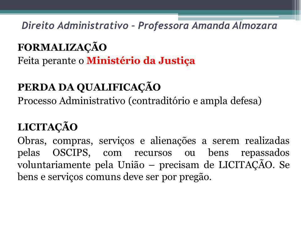 Direito Administrativo – Professora Amanda Almozara FORMALIZAÇÃO Feita perante o Ministério da Justiça PERDA DA QUALIFICAÇÃO Processo Administrativo (