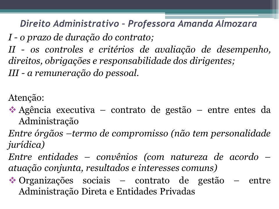 Direito Administrativo – Professora Amanda Almozara I - o prazo de duração do contrato; II - os controles e critérios de avaliação de desempenho, dire