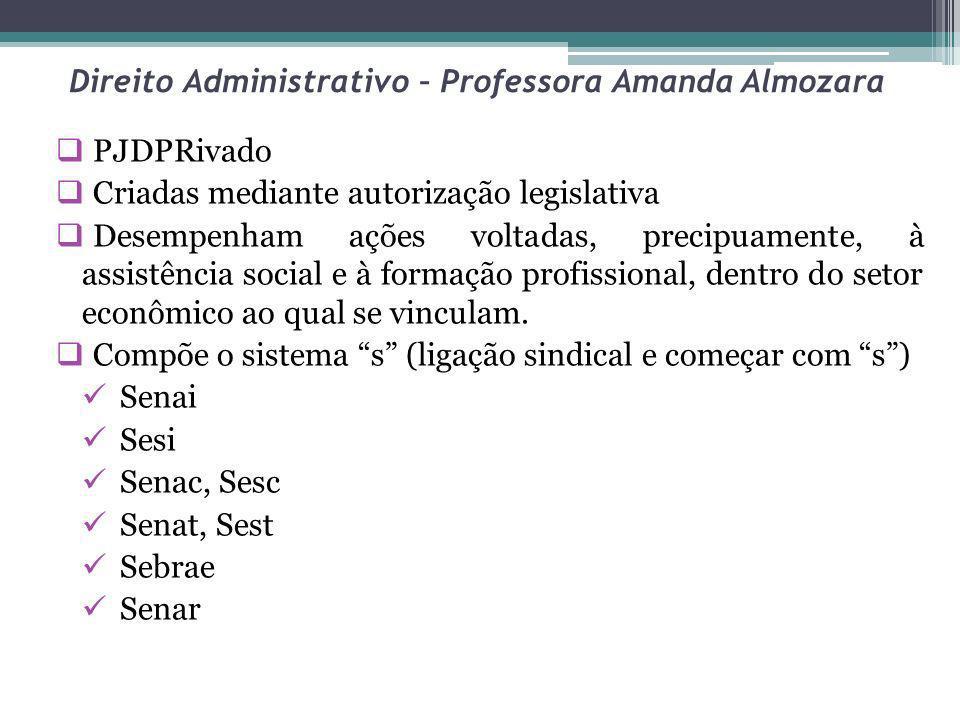 Direito Administrativo – Professora Amanda Almozara PJDPRivado Criadas mediante autorização legislativa Desempenham ações voltadas, precipuamente, à a