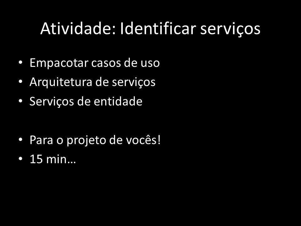 Atividade: Identificar serviços Empacotar casos de uso Arquitetura de serviços Serviços de entidade Para o projeto de vocês! 15 min…