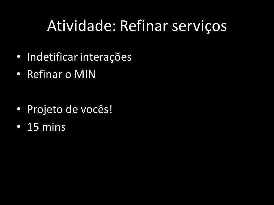 Atividade: Refinar serviços Indetificar interações Refinar o MIN Projeto de vocês! 15 mins