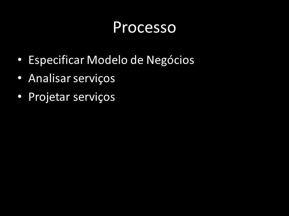 Processo Especificar Modelo de Negócios Analisar serviços Projetar serviços