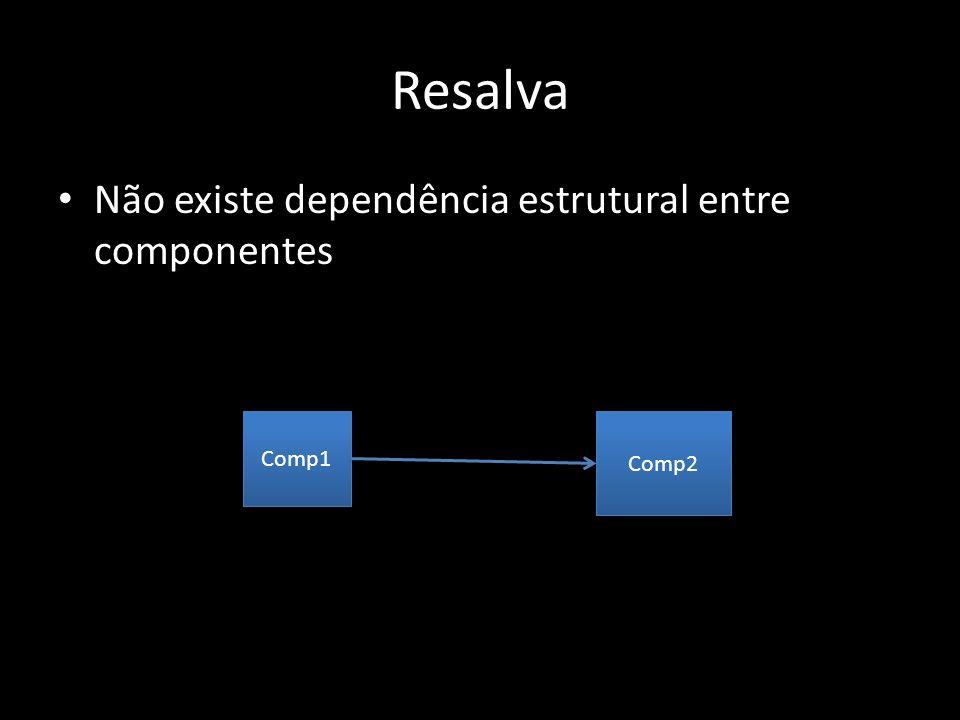Resalva Não existe dependência estrutural entre componentes Comp1 Comp2