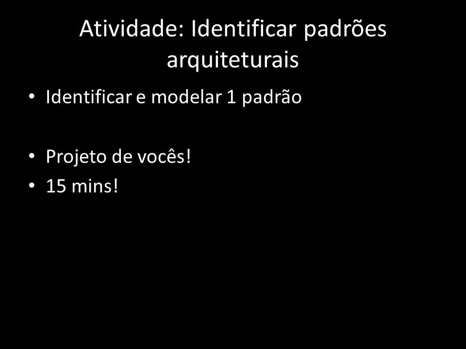 Atividade: Identificar padrões arquiteturais Identificar e modelar 1 padrão Projeto de vocês! 15 mins!