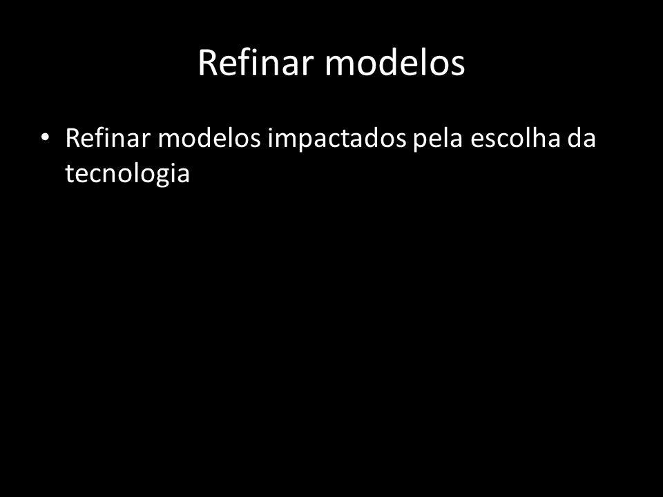 Refinar modelos Refinar modelos impactados pela escolha da tecnologia