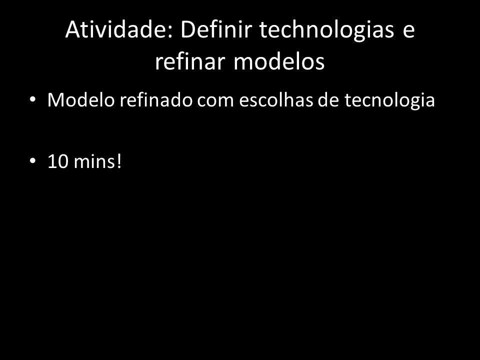 Atividade: Definir technologias e refinar modelos Modelo refinado com escolhas de tecnologia 10 mins!
