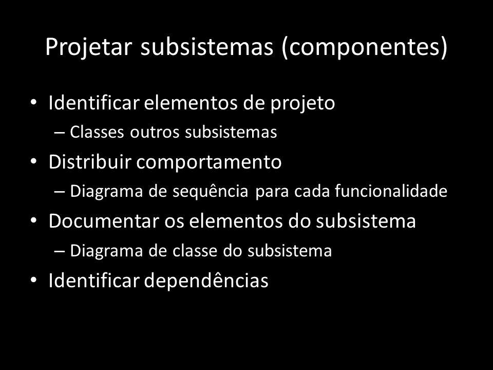 Projetar subsistemas (componentes) Identificar elementos de projeto – Classes outros subsistemas Distribuir comportamento – Diagrama de sequência para