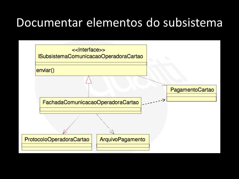 Documentar elementos do subsistema