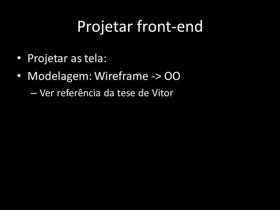 Projetar front-end Projetar as tela: Modelagem: Wireframe -> OO – Ver referência da tese de Vitor