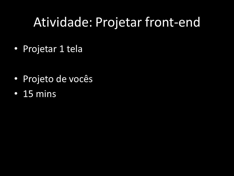 Atividade: Projetar front-end Projetar 1 tela Projeto de vocês 15 mins