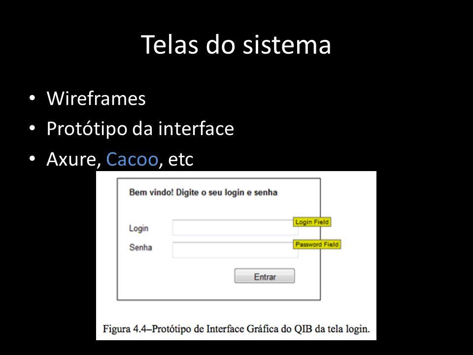 Telas do sistema Wireframes Protótipo da interface Axure, Cacoo, etc
