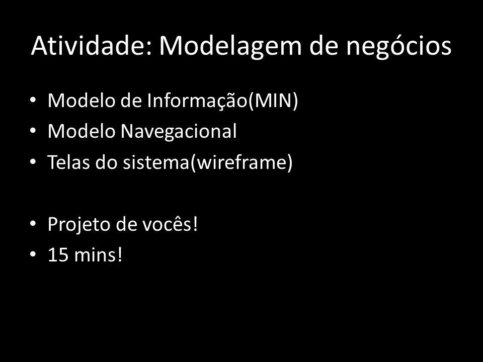 Atividade: Modelagem de negócios Modelo de Informação(MIN) Modelo Navegacional Telas do sistema(wireframe) Projeto de vocês! 15 mins!