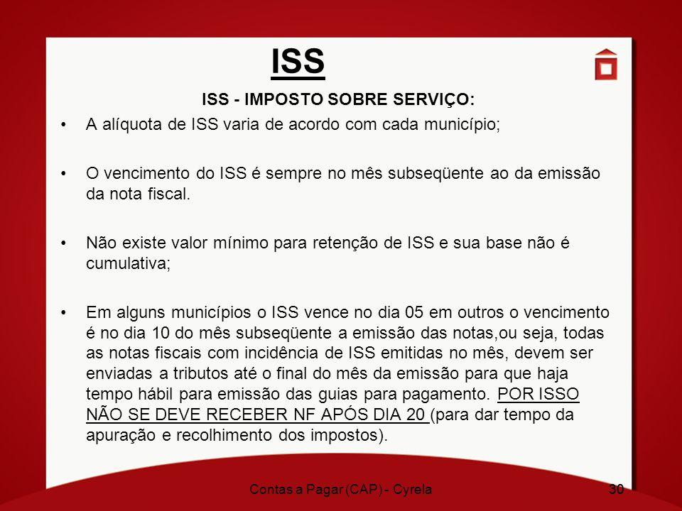 30 ISS ISS - IMPOSTO SOBRE SERVIÇO: A alíquota de ISS varia de acordo com cada município; O vencimento do ISS é sempre no mês subseqüente ao da emissã