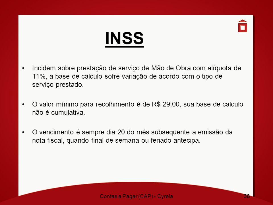 36 INSS Incidem sobre prestação de serviço de Mão de Obra com alíquota de 11%, a base de calculo sofre variação de acordo com o tipo de serviço presta